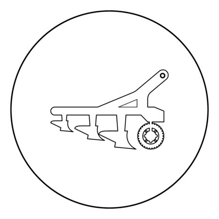 Plow for cultivating land before sowing farm products Tractor machanism equipment Industrial device icon in circle round outline black color vector illustration flat style simple image Çizim