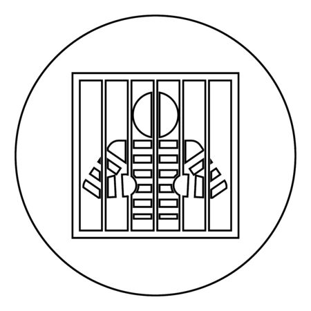 Prisoner behind bars holds rods with his hands Angry man watch through lattice in jail Incarceration concept icon in circle round outline black color vector illustration flat style simple image