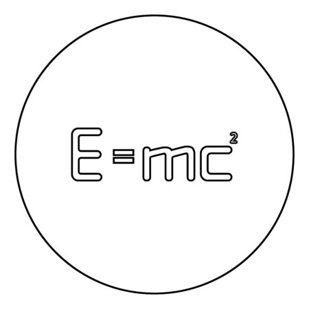 E=mc squared Energy formula physical law E=mc sign e equal mc 2 Education concept Theory of relativity icon in circle round outline black color vector illustration flat style simple image