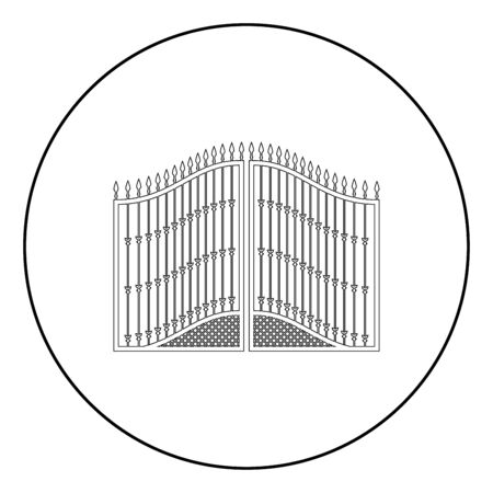 Forged gates icon in circle round outline black color vector illustration flat style simple image 矢量图像