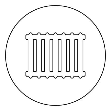 Cast iron battery Heating radiator icon in circle round outline black color vector illustration flat style simple image