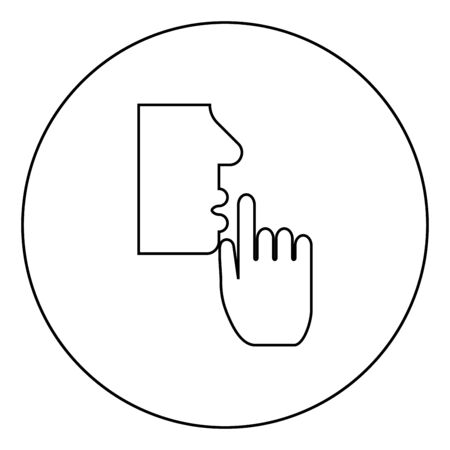 Keep silence concept Man shows index finger quietly Person closed his mouth Shut his lip Shh gesture Stop talk please theme Mute icon in circle round outline black color vector illustration flat style simple image