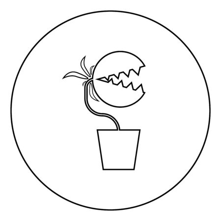 Carnivorous plant Flytrap Monster with teeths in pot icon in circle round outline black color vector illustration flat style simple image 矢量图像
