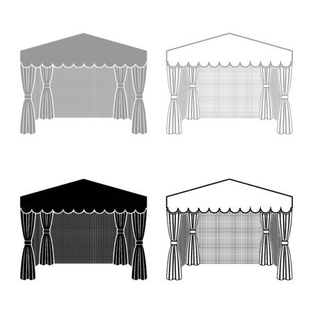 Pavilion for shopping Business tent Marquee for advertising icon outline set black grey color vector illustration flat style simple image