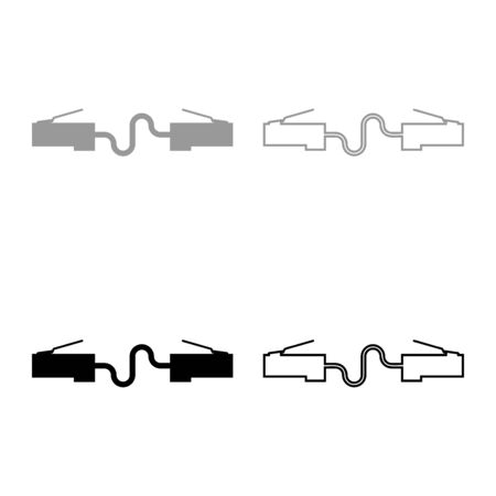 Network connector Patch cord  cable LAN wire icon outline set black grey color vector illustration flat style simple image