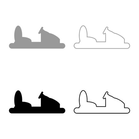 Bumper car silhouette Electric machine for racetrack Sideshow Amusement park Attraction Dodgem icon outline set black grey color vector illustration flat style simple image 向量圖像