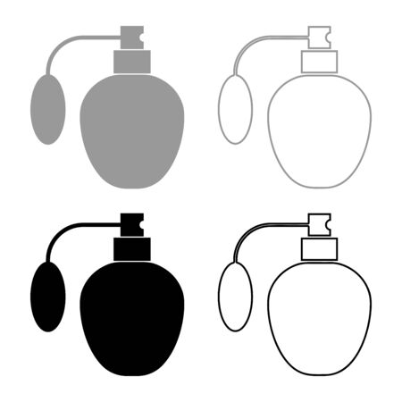 Retro deodorant Perfume bottle with atomizer or spray pump icon outline set black grey color vector illustration flat style simple image
