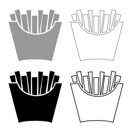 French fries in package Fried potatoes in paper bag Fast food in bucket box Snack concept icon outline set black grey color vector illustration flat style simple image