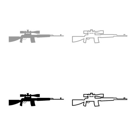 Sniper rifle icon outline set black grey color vector illustration flat style simple image