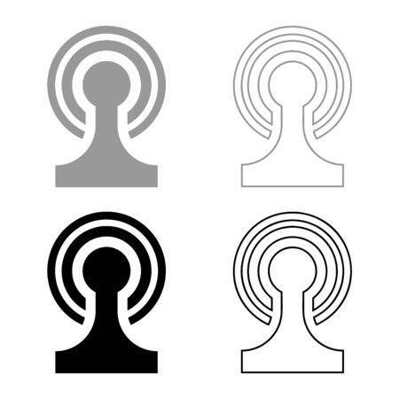 Broadcasting Wireless device Radio wave icon outline set black grey color vector illustration flat style simple image Illustration