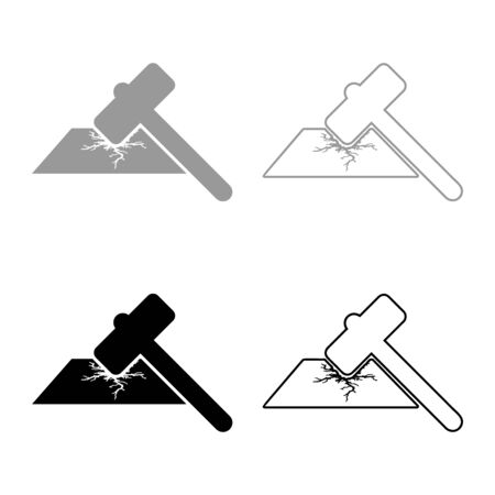 Sledge hammer breaks hard surface with formation of strong cracks icon outline set black grey color vector illustration flat style simple image