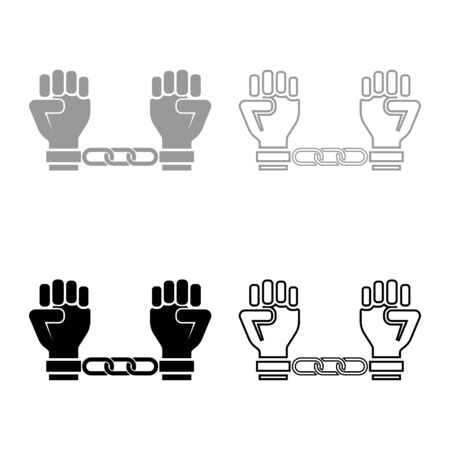 Handcuffed hands Chained human arms Prisoner concept Manacles on man Detention idea Fetters confine Shackles on person icon outline set black grey color vector illustration flat style simple image