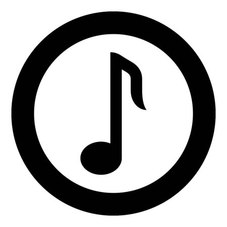 Eighth note icon in circle round black color vector illustration flat style simple image