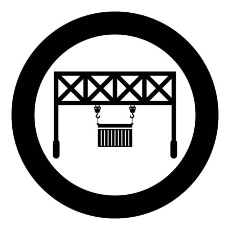 Port loader Railway crane with cargo container Lifting goods Logistic technology Terminal service icon in circle round black color vector illustration flat style simple image Ilustracje wektorowe