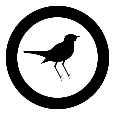 Nightingale Luscinia Bird silhouette icon in circle round black color vector illustration flat style simple image
