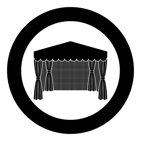Pavilion for shopping Business tent Marquee for advertising icon in circle round black color vector illustration flat style simple image