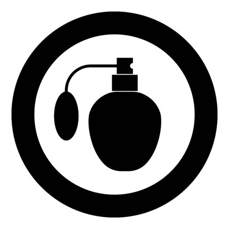 Retro deodorant Perfume bottle with atomizer or spray pump icon in circle round black color vector illustration flat style simple image Vectores