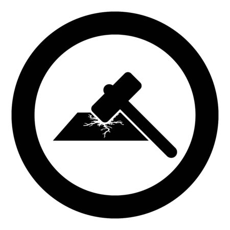 Sledge hammer breaks hard surface with formation of strong cracks icon in circle round black color vector illustration flat style simple image
