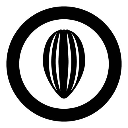 Cacao bob pod Cocoa fruit peel Chocolate seeds icon in circle round black color vector illustration flat style simple image