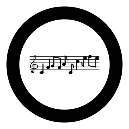 Note fret Notes icon in circle round black color vector illustration flat style simple image Illustration