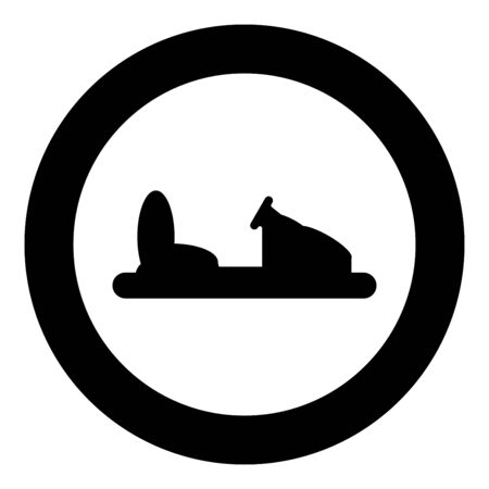 Bumper car silhouette Electric machine for racetrack Sideshow Amusement park Attraction Dodgem icon in circle round black color vector illustration flat style simple image