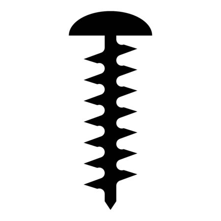 Round head screw Self-tapping Hardware Construction element icon black color vector illustration flat style simple image