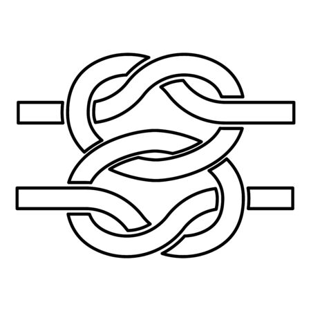 Two nautical knots Ropes Wire with loop Twisted marine cord icon outline black color vector illustration flat style simple image