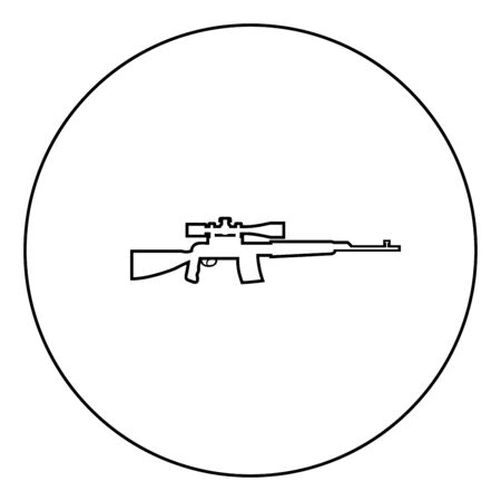 Sniper rifle icon in circle round outline black color vector illustration flat style simple image Illustration