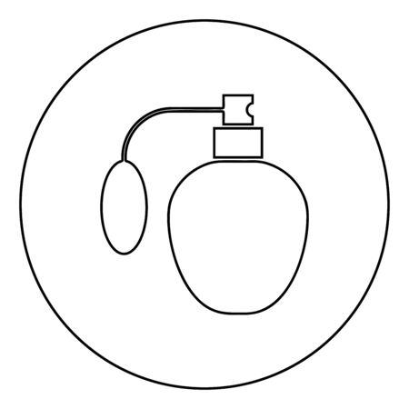 Retro deodorant Perfume bottle with atomizer or spray pump icon in circle round outline black color vector illustration flat style simple image Ilustración de vector