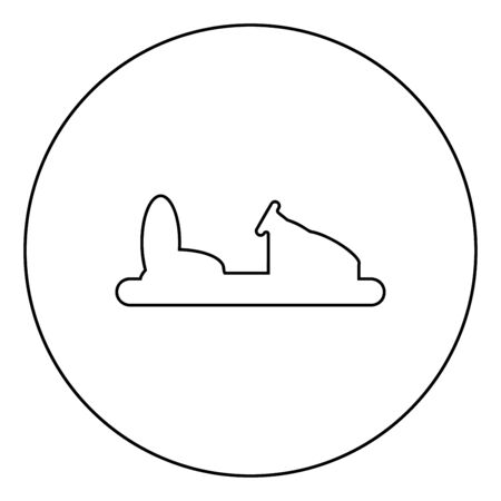 Bumper car silhouette Electric machine for racetrack Sideshow Amusement park Attraction Dodgem icon in circle round outline black color vector illustration flat style simple image 일러스트