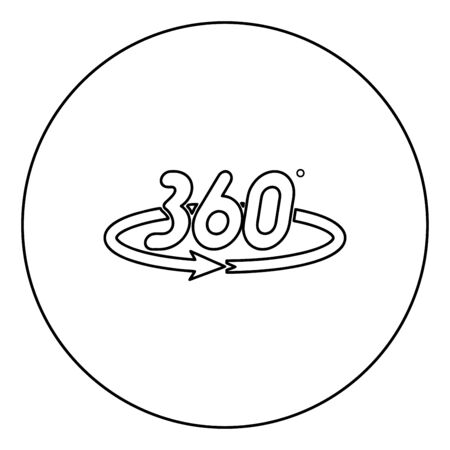 360 degree rotation arrow Concept full view icon in circle round outline black color vector illustration flat style simple image 矢量图像