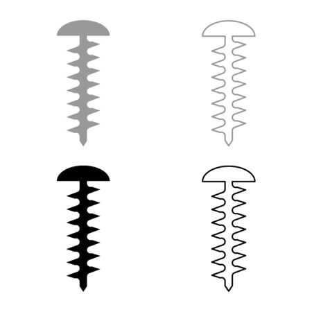 Round head screw Self-tapping Hardware Construction element icon outline set black grey color vector illustration flat style simple image Ilustração