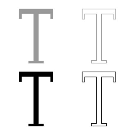 Tau greek symbol capital letter uppercase font icon outline set black grey color vector illustration flat style simple image Illustration