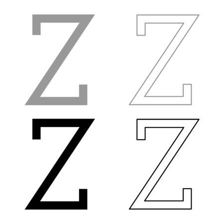 Zeta greek symbol capital letter uppercase font icon outline set black grey color vector illustration flat style simple image