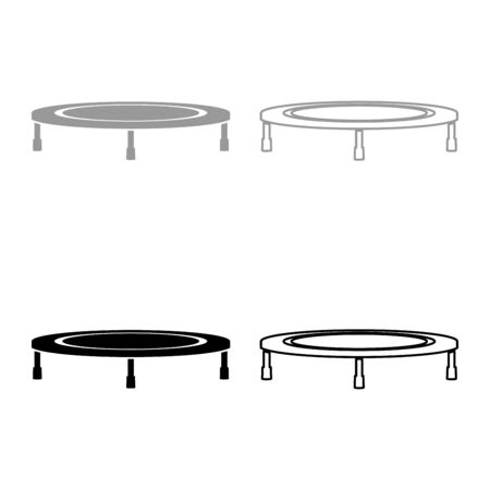 Trampoline jumping for bounce icon outline set black grey color vector illustration flat style simple image