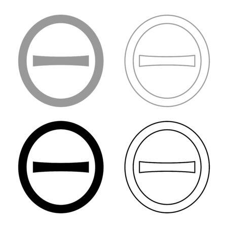 Theta capital greek symbol uppercase letter font icon outline set black grey color vector illustration flat style simple image Illustration