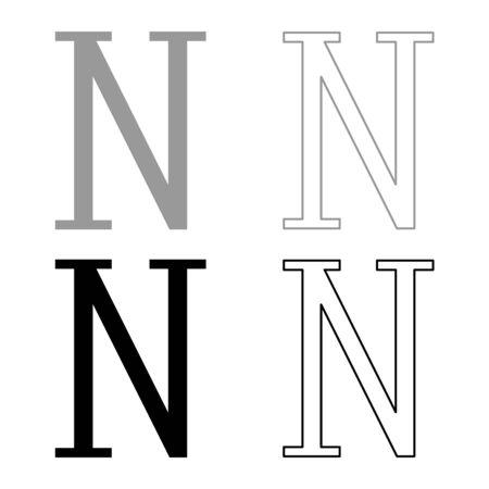 Nu greek symbol capital letter uppercase font icon outline set black grey color vector illustration flat style simple image