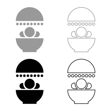 Solarium Human treatment exposure therapy Body CT scanning CAT Scan Radiotherapy icon outline set black grey color vector illustration flat style simple image