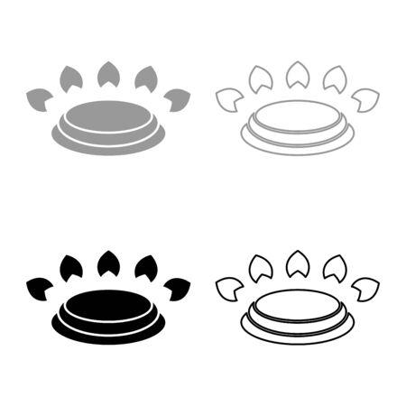 Gas burner stove symbol type cooking surfaces sign utensil destination panel icon outline set black grey color vector illustration flat style simple image