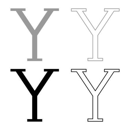 Upsilon greek symbol capital letter uppercase font icon outline set black grey color vector illustration flat style simple image Illustration