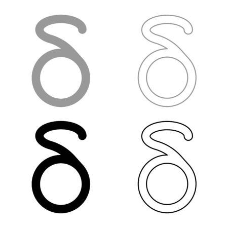 Delta greek symbol small letter lowercase font icon outline set black grey color vector illustration flat style simple image Illustration