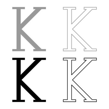 Kappa greek symbol capital letter uppercase font icon outline set black grey color vector illustration flat style simple image Illustration