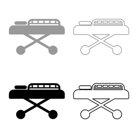 Medical bed Couch patient Hospital gurney intensive care icon outline set black grey color vector illustration flat style simple image