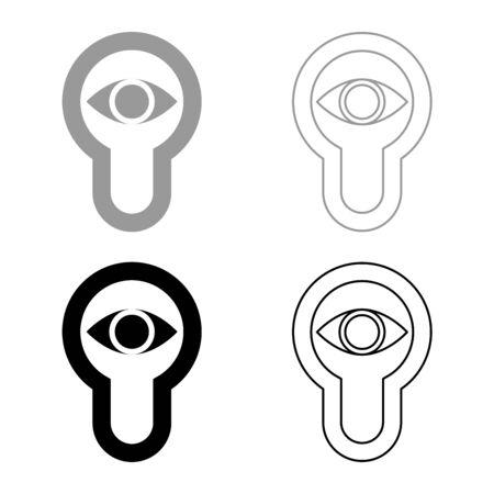 Keyhole eye looking Lock door Look concept icon outline set black grey color vector illustration flat style simple image Illustration