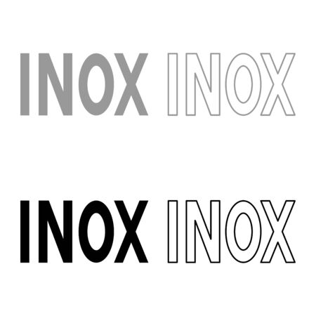 Inox inscription symbol type cooking surfaces sign utensil destination panel icon outline set black grey color vector illustration flat style simple image