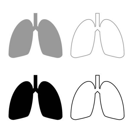 Lungs human icon outline set black grey color vector illustration flat style simple image