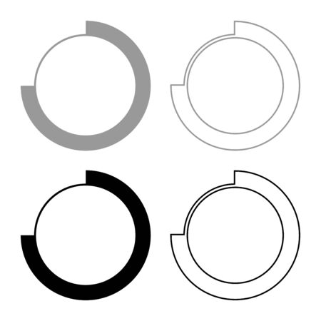 Techno Circle Modern Infographic Concept Abstract creative futuristic technology Graphic user interface icon outline set black grey color vector illustration flat style simple image Illustration