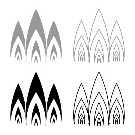 Three flame fire Burn bonfire 3 tongues icon outline set black grey color vector illustration flat style simple image