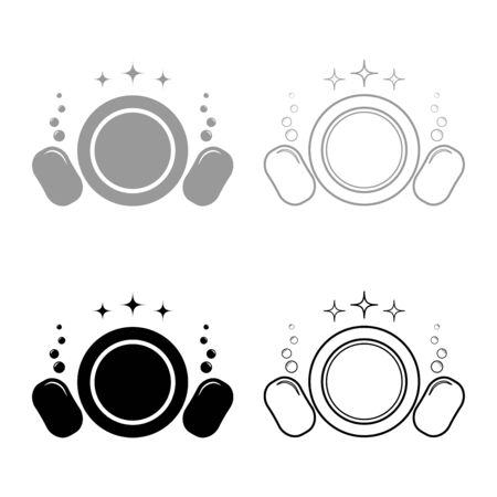Dishwashing concept Clearing dishes Plate Washcloth Sponge Bubbles Clean kitchen idea icon outline set black grey color vector illustration flat style simple image Illustration