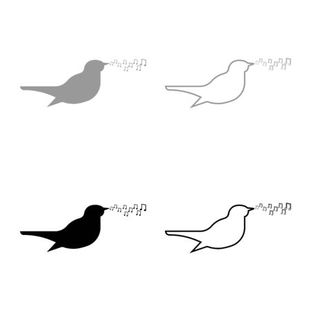 Nightingale singing tune song Bird musical notes Music concept icon outline set black grey color vector illustration flat style simple image